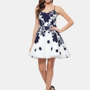 Xscape Blue and White Fit and Flare Cocktail dress